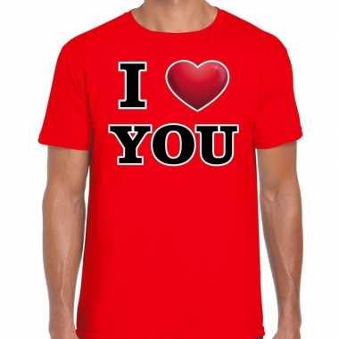 I love you valentijn t shirt rood voor heren kado