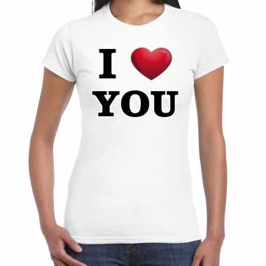 I love you valentijn t shirt wit voor dames kado