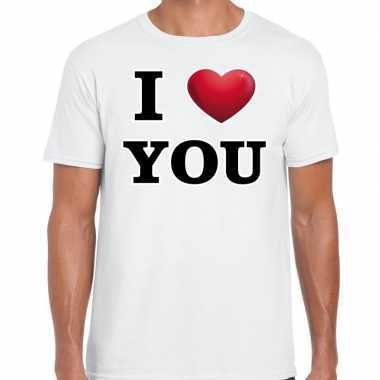 I love you valentijn t shirt wit voor heren kado