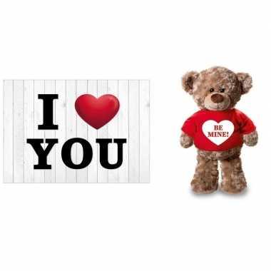 I love you valentijnskaart met be mine knuffelbeer 24 cm kado