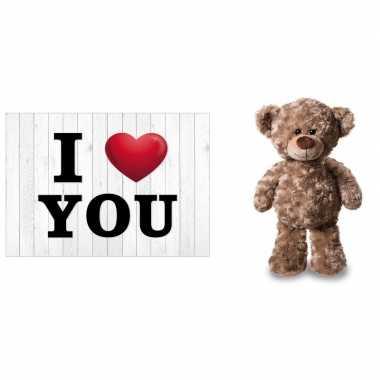 I love you valentijnskaart met bruine knuffelbeer 24 cm kado