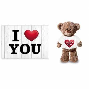 I love you valentijnskaart met i love you knuffelbeertje kado