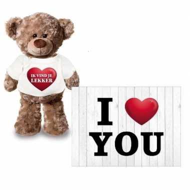 I love you valentijnskaart met ik vind je lekker knuffelbeer kado