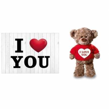 I love you valentijnskaart met knuffelbeer in rood shirtje 24 cm kado