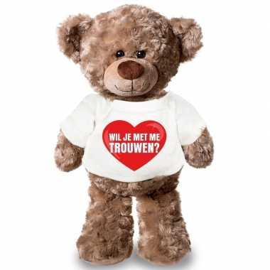 Knuffel teddybeer met wil je met me trouwen hart shirt 43 cm kado