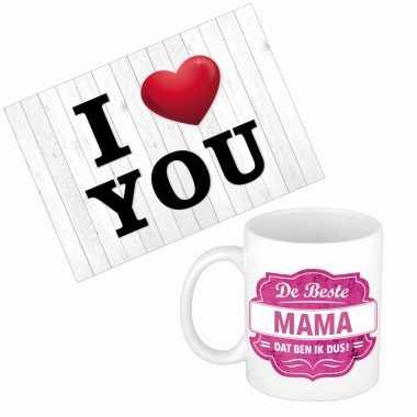 Mama jarig/moederdag kado drink mok/beker + love you wenskaart