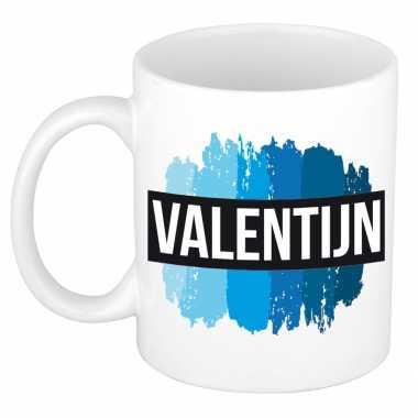 Naam kado mok / beker valentijn met blauwe verfstrepen 300 ml