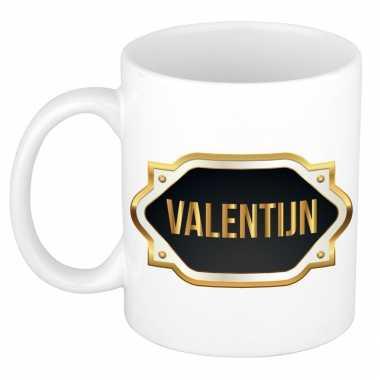 Naam kado mok / beker valentijn met gouden embleem 300 ml