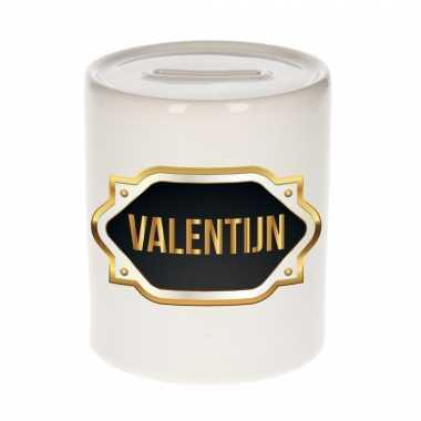 Naam kado spaarpot valentijn met gouden embleem