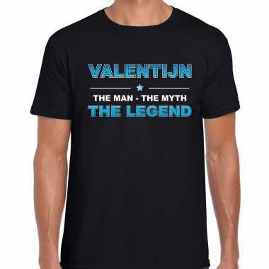 Naam kado t shirt valentijn the legend zwart voor heren