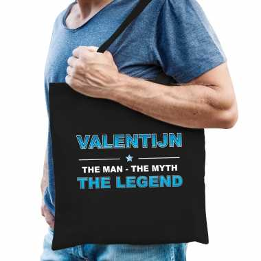 Naam kado tas valentijn the legend zwart voor heren