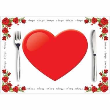 Papieren placemats liefde 10 stuks kado