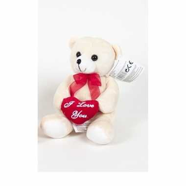 Pluche beertjes /beren knuffel beige 18 cm met een i love you hartje kado