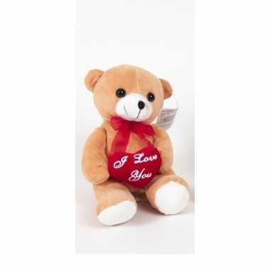 Pluche beertjes /beren knuffel bruin 18 cm met een i love you hartje kado