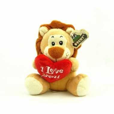 Pluche i love you leeuw knuffel bruin 14 cm speelgoed kado
