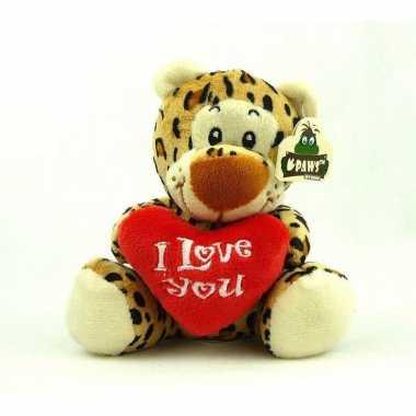 Pluche i love you luipaard knuffel bruin 14 cm speelgoed kado