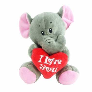 Pluche i love you olifant knuffel grijs 14 cm speelgoed kado