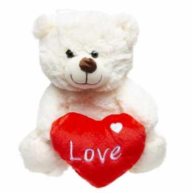 Pluche love witte beer knuffel 23 cm speelgoed kado