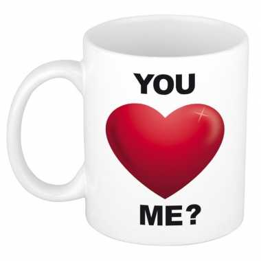 Romantische mok / beker you love me 300 ml kado