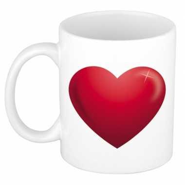 Romantische mok / rood hartje 300 ml kado