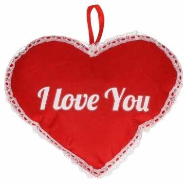 Rood hart i love you vilten hangdecoratie 21 x 27 cm kado