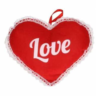 Rood hart love vilten hangdecoratie 21 x 27 cm kado