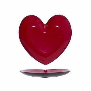 Rood hart plastic bord/schaal 36 cm kado