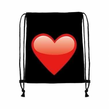 Rugtas zwart met rijgkoord en rood hart kado