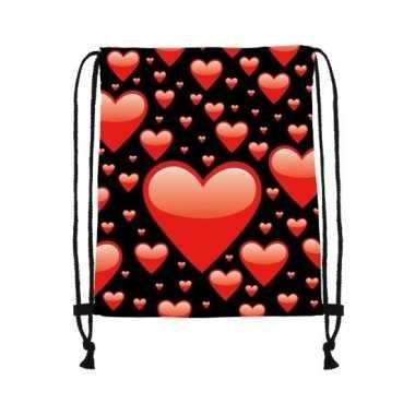 Rugtas zwart met rijgkoord met rode hartjes print kado