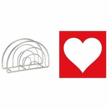 Servethouder met rode servetten met wit hart print kado