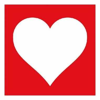 Servetten rood met wit hart 20 stuks kado