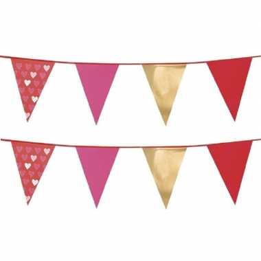 Set van 2x stuks love/valentijn thema vlaggenlijnen slingers 6 meter kado
