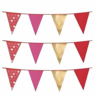 Set van 3x stuks love/valentijn thema vlaggenlijnen slingers 6 meter kado