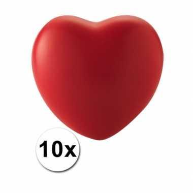Valentijn 10 hartvormige stressballetjes rood kado