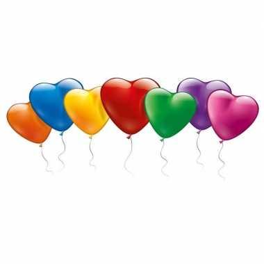 Valentijn 100x gekleurde hartjes ballonnen kado