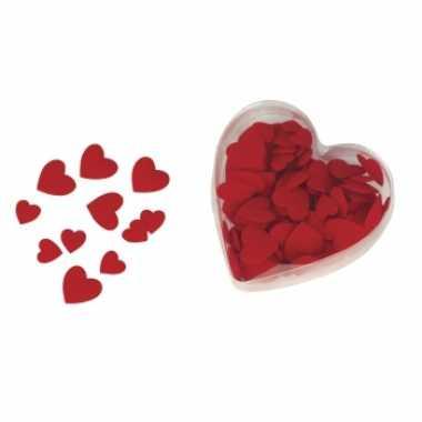 Valentijn 100x luxe velours strooihartjes rood kado