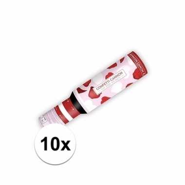 Valentijn 10x confetti kanon hartjes en rozenblaadjes kado