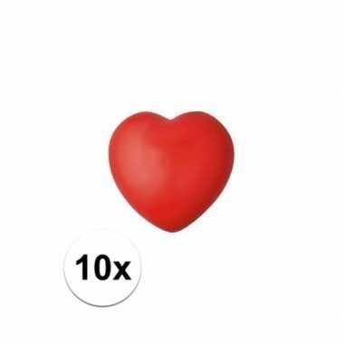 Valentijn 10x hartje stressbal rood 7 cm kado
