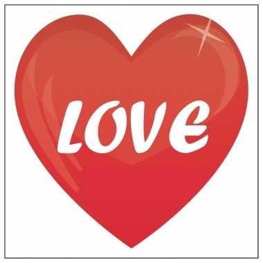 Valentijn 10x love hartje sticker 10,5 cm kado