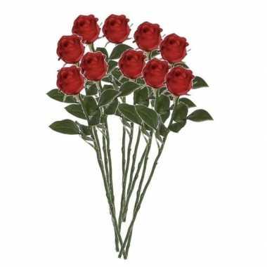 Valentijn 10x rode rozen kunstbloemen 45 cm kado