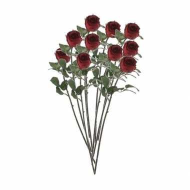 Valentijn 10x rode rozen kunstbloemen 69 cm kado