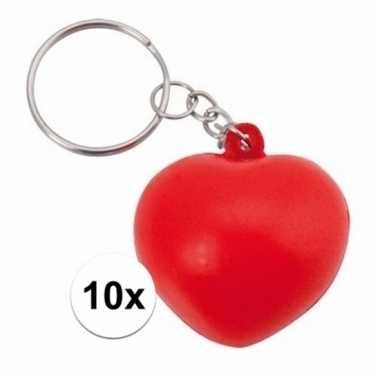 Valentijn 10x stressbal sleutelhanger hartje 3,6 cm kado