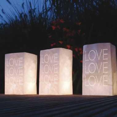 Valentijn 10x stuks candle bags set love thema 26 cm kado