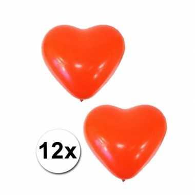 Valentijn 12x hartjes ballonnen rood kado