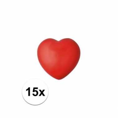 Valentijn 15x hartje stressbal rood 7 cm kado