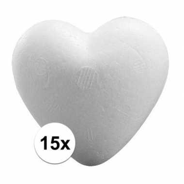 Valentijn 15x piepschuim hartjes 9 cm kado