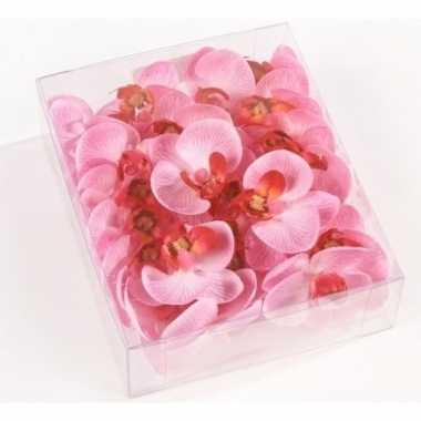 Valentijn 18x roze strooi vlinderorchideeblaadjes decoratie kado