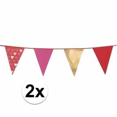 Valentijn 2 stuks love vlaggenlijn 6 meter kado