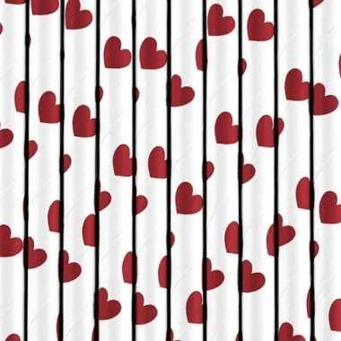 Valentijn 20x stuks rietjes met rode hartjes van papier kado
