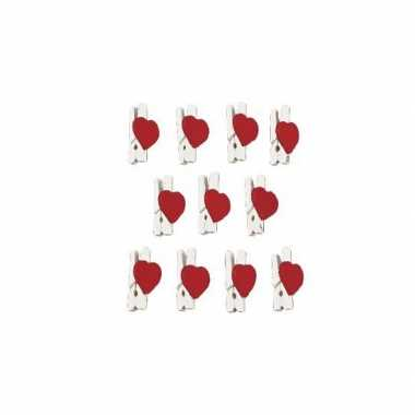 Valentijn 24x stuks hartjes mini knijpertjes 2,5 cm kado